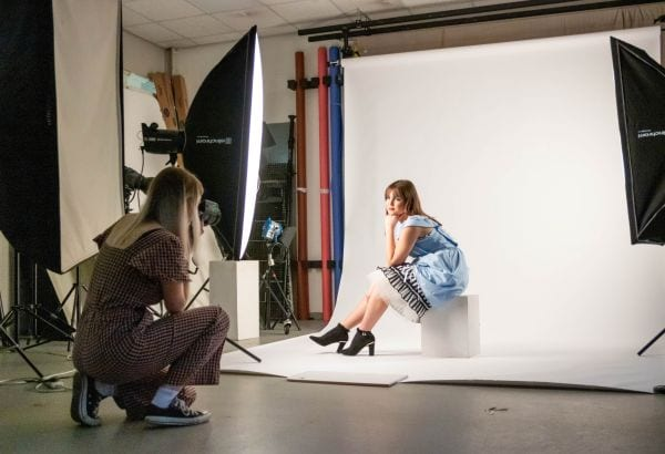 Photoshoot in the photography studio with two students